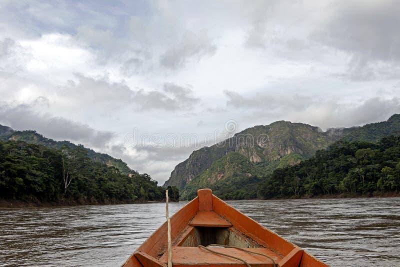 Hölzerne Bootsfront und grüne Dschungellandschaft, segelnd in das schlammige Wasser des Beni-Flusses, amazonischer Regenwald, Bol stockfotos