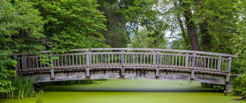 Hölzerne Brücke über Teich Panorma stockbild
