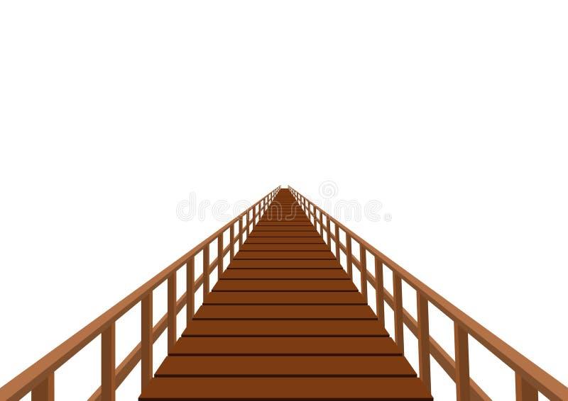 Hölzerne Brücke mit einem Geländer stock abbildung