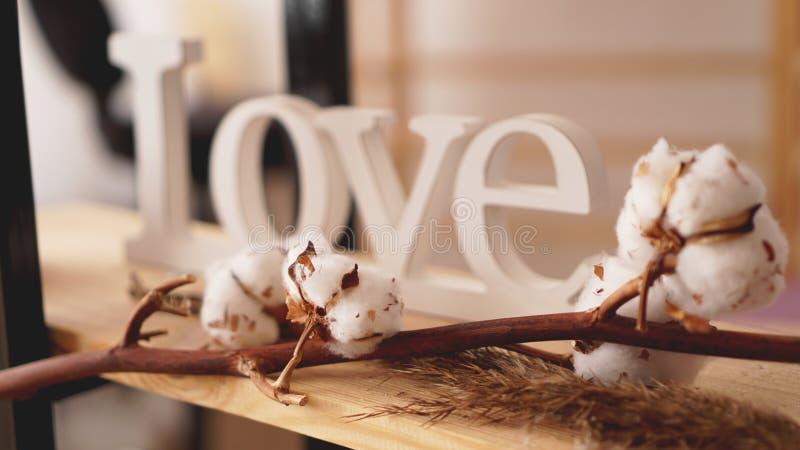 Hölzerne Buchstaben der Liebe, Weinlese angeredet und Baumwollblume lizenzfreie stockfotografie
