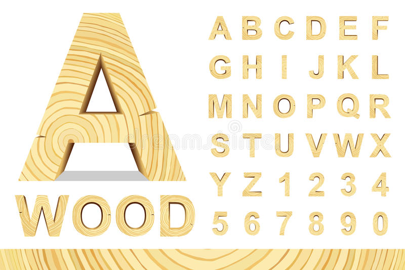 Hölzerne Buchstaben eingestellt vektor abbildung