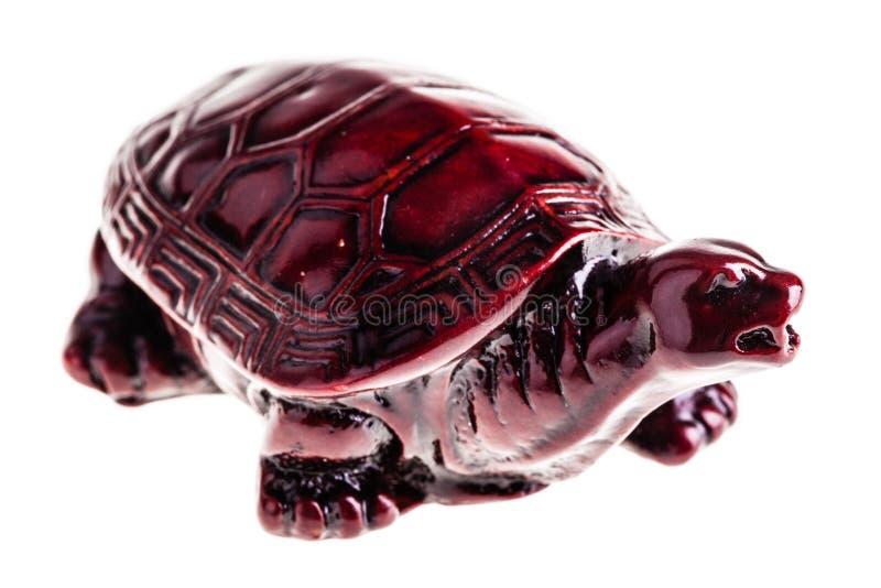 Hölzerne chinesische Schildkröte über Weiß lizenzfreie stockfotos
