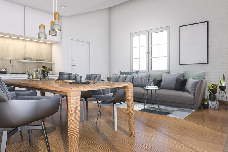 3d Fußboden Küche ~ Hölzerne dachbodenküche der wiedergabe 3d mit stange und sofa nahe