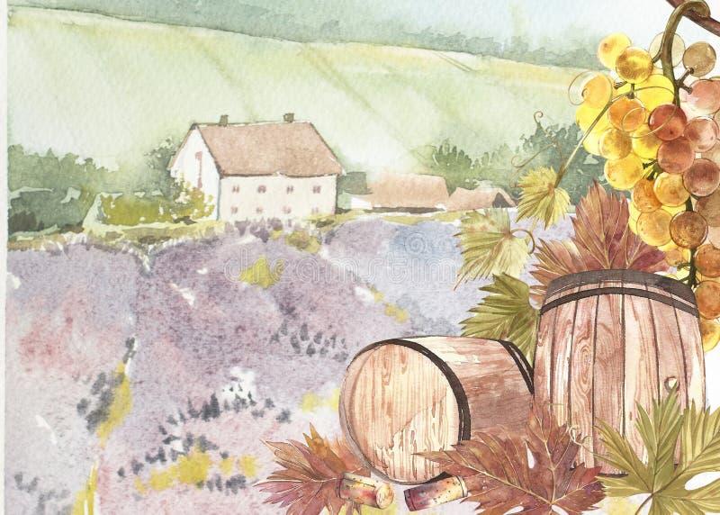 Hölzerne Fässer und Blätter von Trauben Hintergrund mit einem Lavendelfeld Aquarellillustration für Postkarten lizenzfreie abbildung