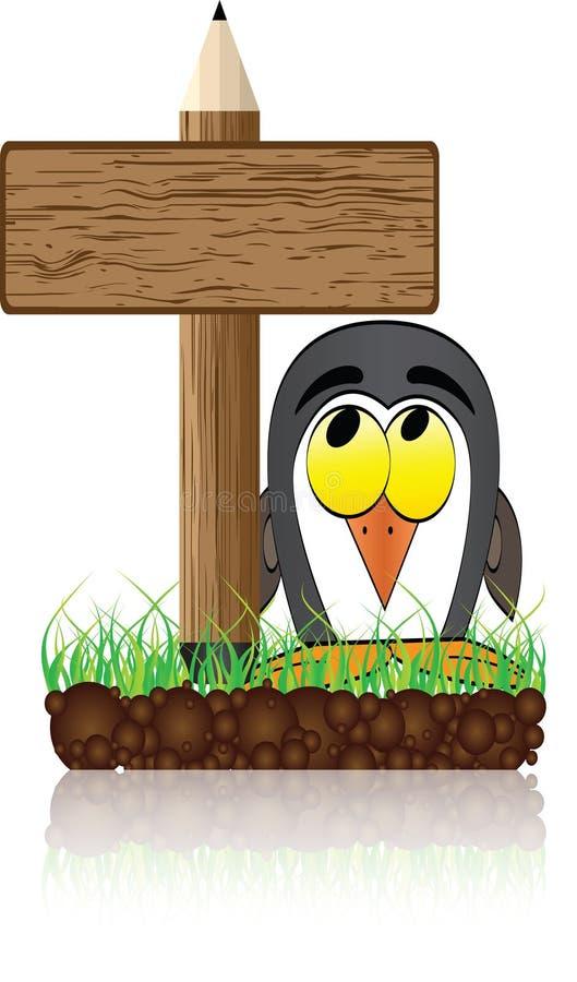 Hölzerne Fahne mit Pinguin stock abbildung