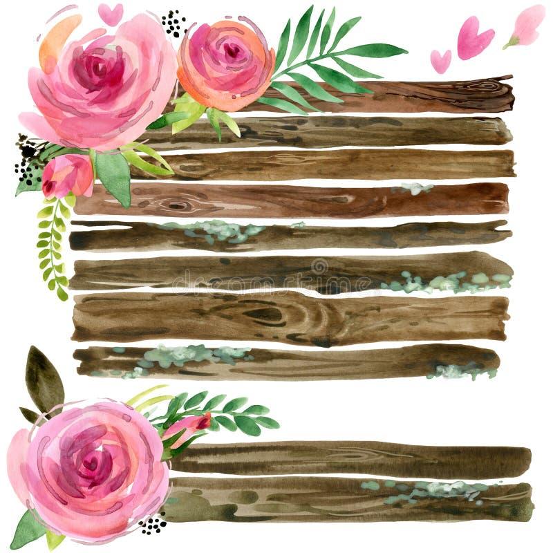 Hölzerne Fahnen mit rosafarbener Blume Rosen-Blumenaquarell Heiratendes dekoratives Element Täfelungssatz vektor abbildung