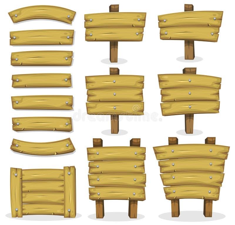 Hölzerne Fahnen, Platten und Zeichen für Ui-Spiel stock abbildung
