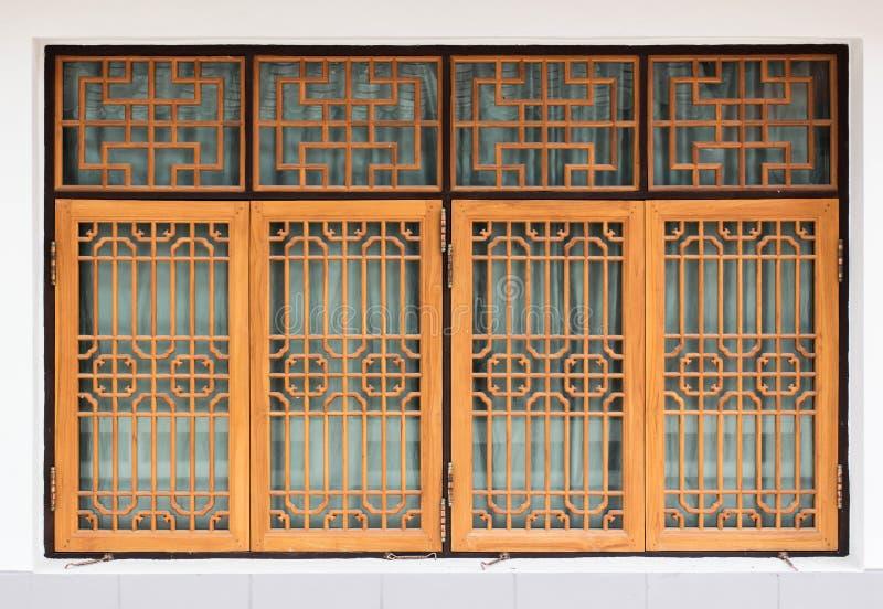 Hölzerne Fensterwand der chinesischen Art lizenzfreies stockbild