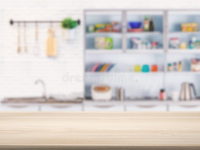 Hölzerne Gegenspitze mit Küchenhintergrund stockfoto