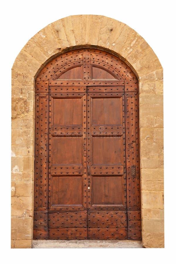 Hölzerne geschlossene braune Tür. stockfotos
