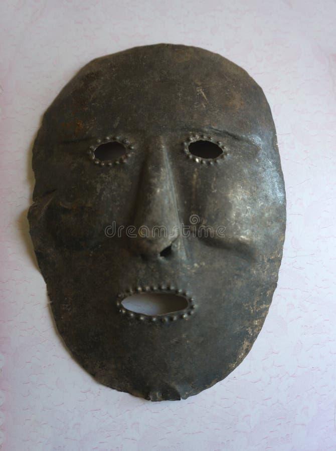 Hölzerne geschnitzte Masken der Gotteskriegermönche lizenzfreies stockbild