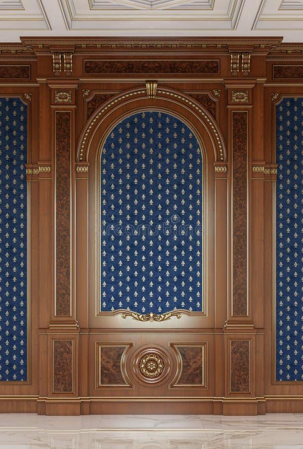 Hölzerne geschnitzte Platten in einer klassischen Art in den dunklen Farben Wiedergabe 3d stockfoto