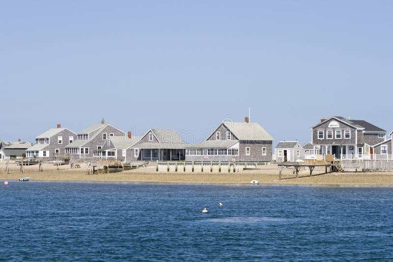 Hölzerne Häuser auf Cape Cod lizenzfreie stockbilder