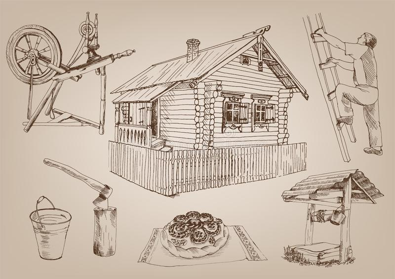 Hölzerne Hütte lizenzfreie abbildung