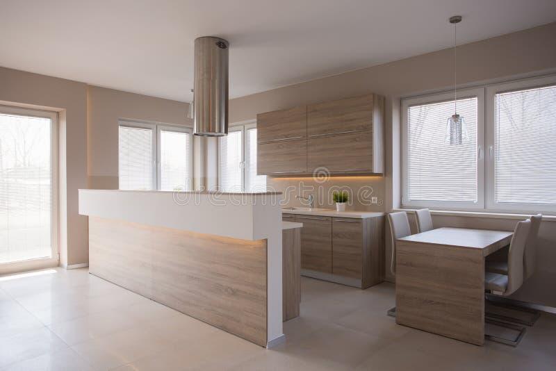 Hölzerne Küche im Luxushaus lizenzfreies stockbild