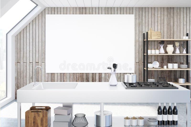 Hölzerne Küche mit Plakat lizenzfreie abbildung