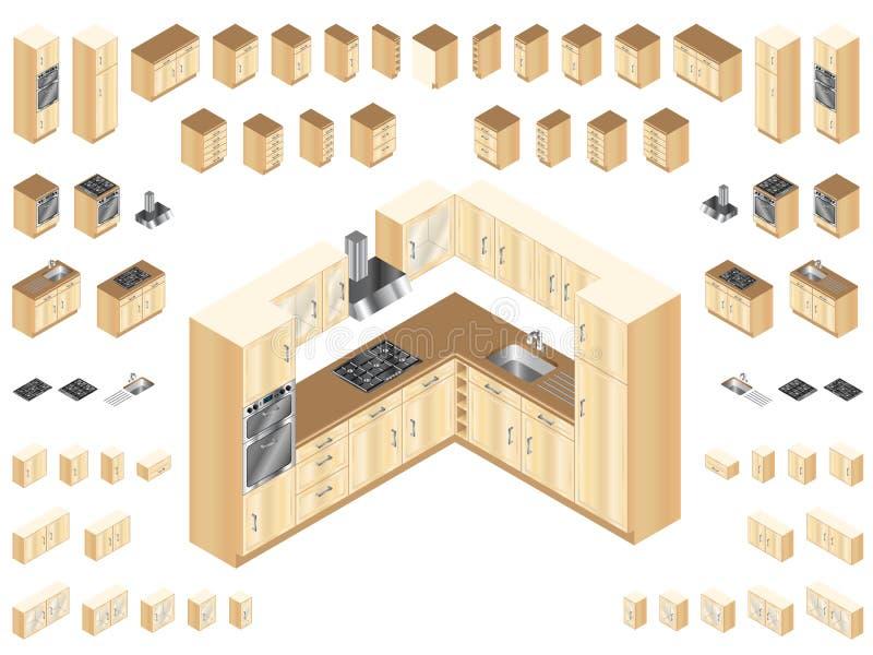 Hölzerne Küchen-Elemente stock abbildung