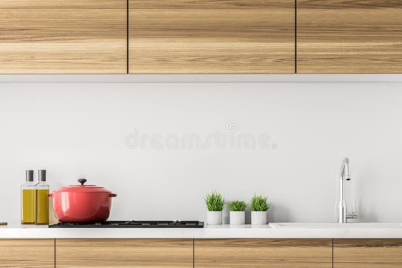 Hölzerne Küchenarbeitsplatte mit einem Kocher stock abbildung