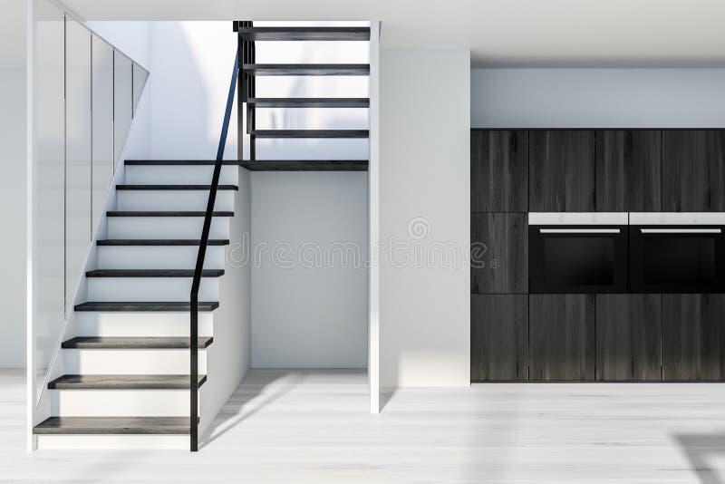Hölzerne Küchenarbeitsplatten und Treppe vektor abbildung