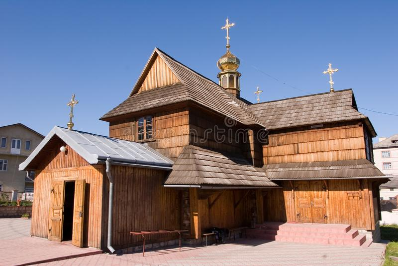 Hölzerne Kirche der Annahme in Chortkiv, Ukraine lizenzfreie stockbilder