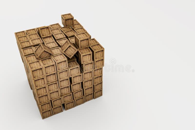 Hölzerne Kisten lokalisiert auf weißem Hintergrund stock abbildung