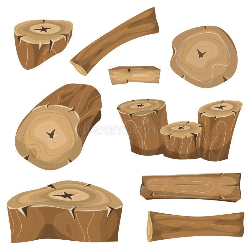 Hölzerne Klotz, Stämme und Planken eingestellt stock abbildung