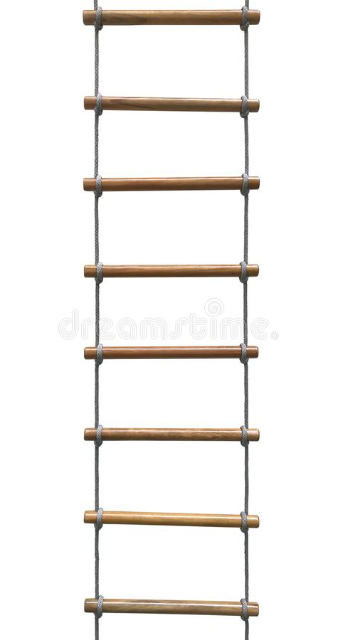 hölzerne Leiter des Seils stockbild