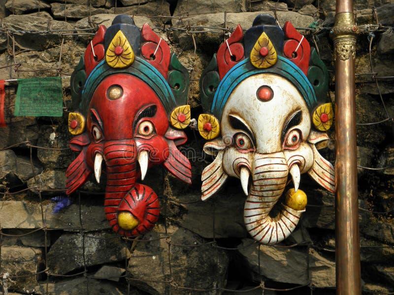 Hölzerne Masken in Kathmandu, Nepal lizenzfreie stockfotografie