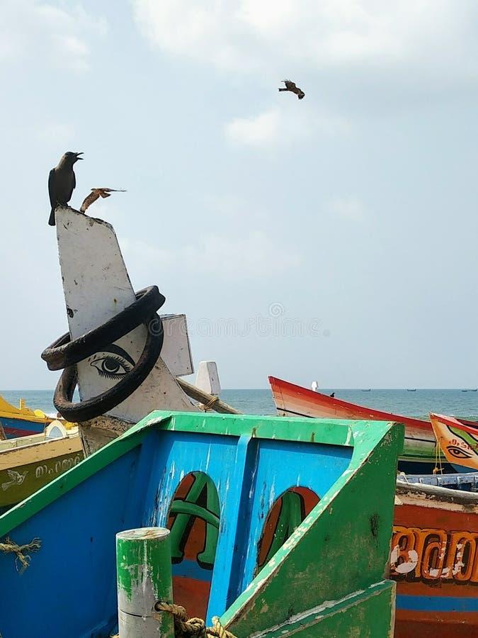 hölzerne mehrfarbige Boote von Fischern auf dem Strand von Edava-Strand in Kerala nahe dem Dorf von varkal Indien stockfoto