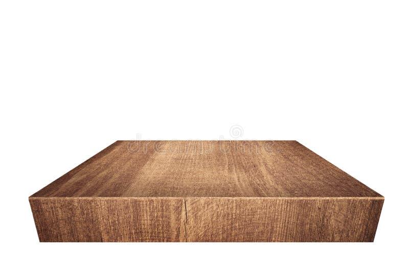 Hölzerne Planke Browns, Tischplatte lokalisiert auf weißem Hintergrund lizenzfreie stockfotografie