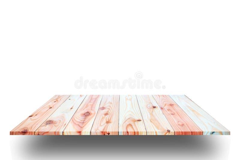 Hölzerne Plankenregale und weißer Hintergrund stockfoto