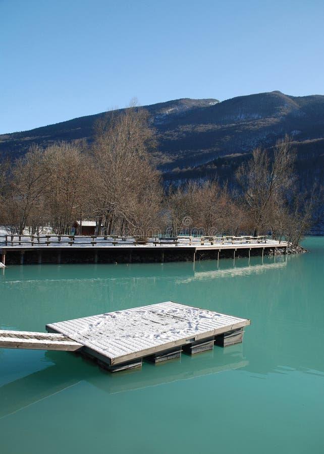 Hölzerne Plattform im grünen See stockbild