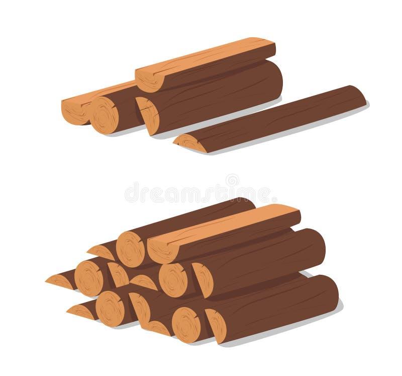 Hölzerne Protokolle Brown-Barke des gefällten trockenen Holzes Kauf für Bau Auch im corel abgehobenen Betrag Ein Satz hölzerne Bü stock abbildung