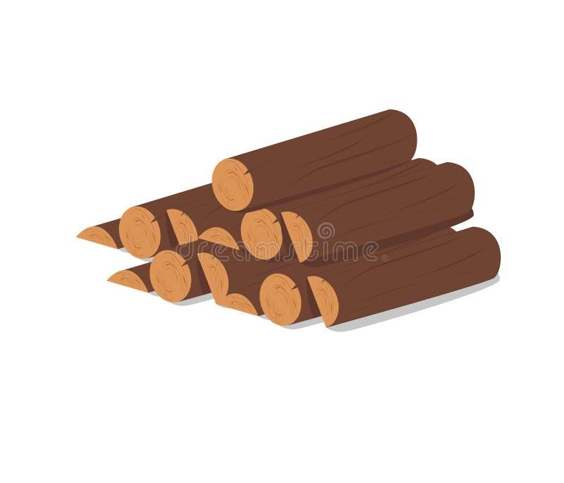 Hölzerne Protokolle Brown-Barke des gefällten trockenen Holzes Kauf für Bau Auch im corel abgehobenen Betrag Ein Satz hölzerne Bü lizenzfreie abbildung