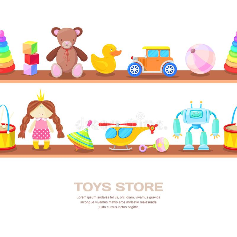 Hölzerne Regale mit verschiedenen Kinderspielwaren, lokalisierte Illustration Horizontaler nahtloser Vektorweißhintergrund lizenzfreie abbildung