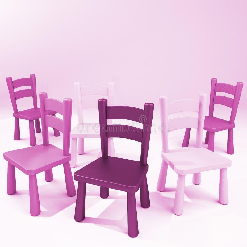 Hölzerne rosa Stühle stock abbildung