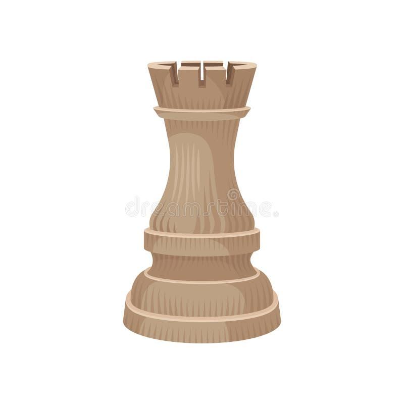 Hölzerne Schachfigur - Turmschloss oder -turm in der beige Farbe Kleine Zahl des strategischen Brettspiels Flache Vektorikone lizenzfreie abbildung