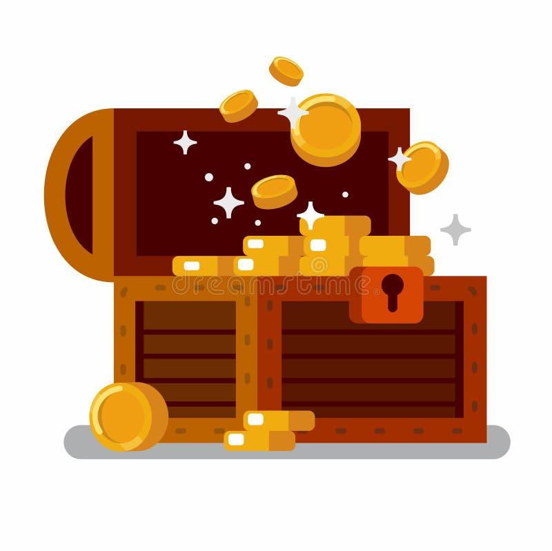 Hölzerne Schatztruhe voll von goldenen Münzen stock abbildung