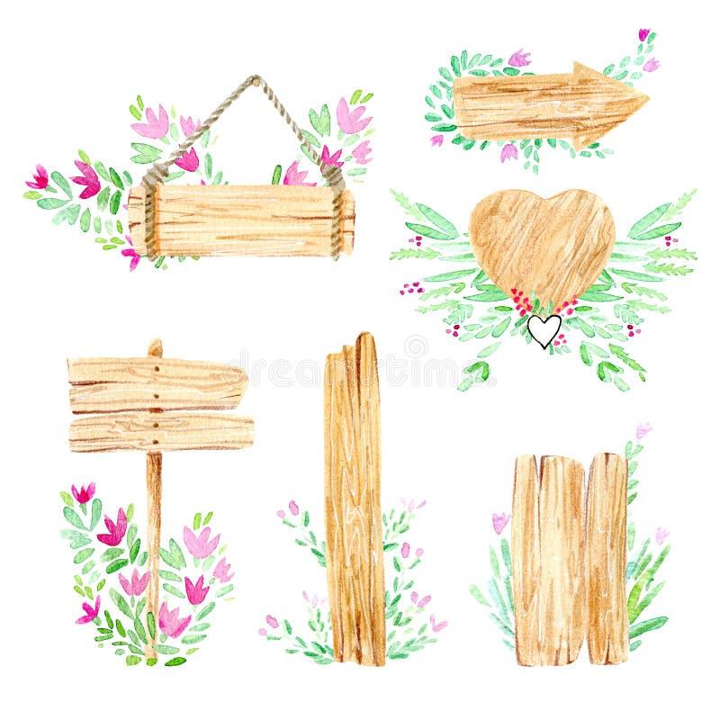 Hölzerne Scheibe, Zeichen und Blumen Querschnittbaum Rustikale Art stock abbildung