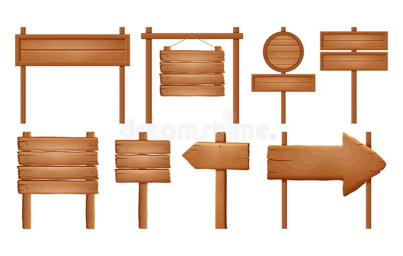 Hölzerne Schilder, hölzerner Pfeilzeichensatz Leere Schildfahnensammlung lokalisiert auf weißem Hintergrund Holzschild Bretter un vektor abbildung