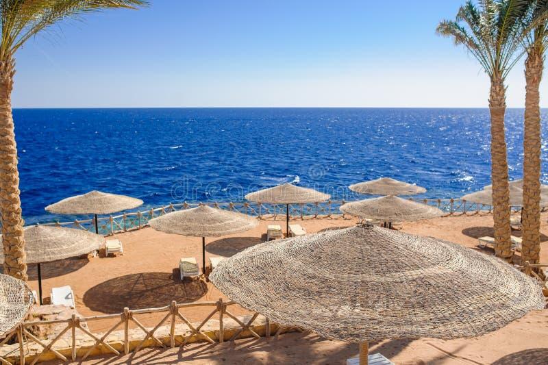 Hölzerne Sonnenschirme auf dem Strand lizenzfreie stockfotografie