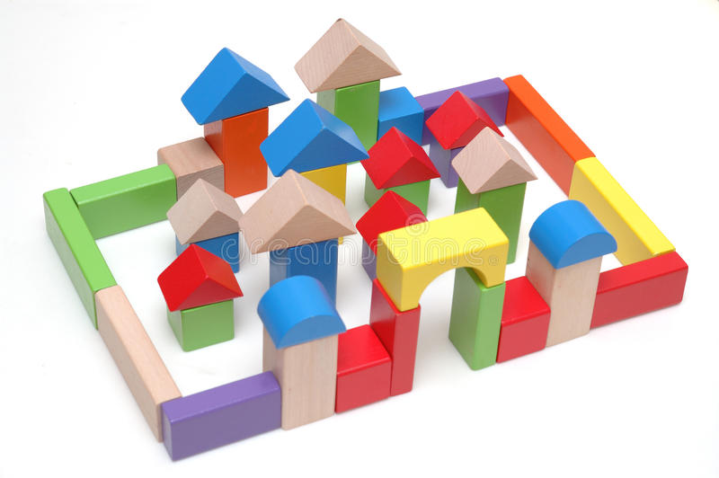 Hölzerne Spielzeugblöcke stockbilder