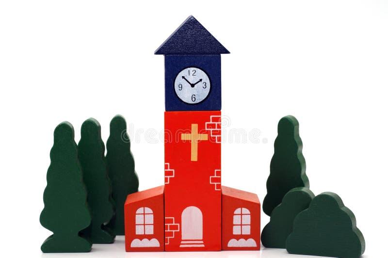 Hölzerne Spielzeugkirche lizenzfreie stockfotografie