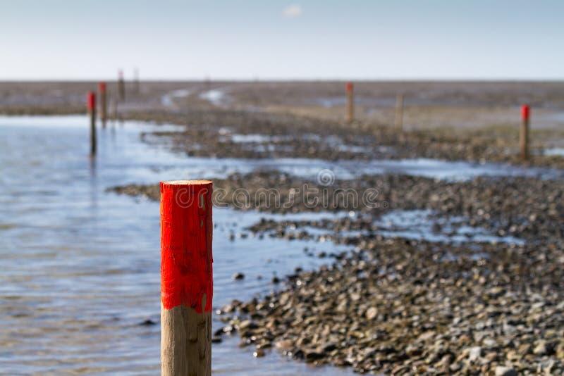 Hölzerne Stapel mit roten Tipps markieren die Weise durch die Schlickwatt lizenzfreie stockfotografie