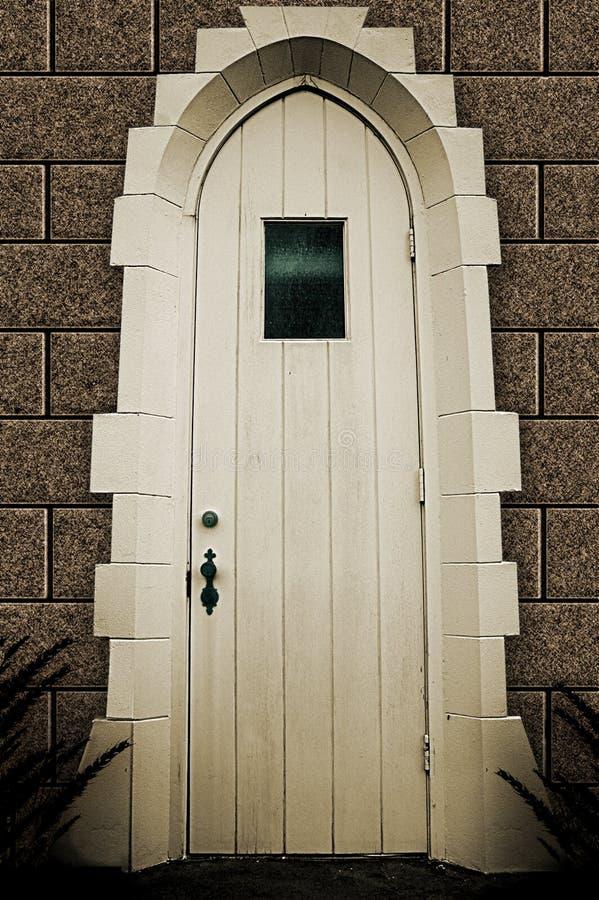 Hölzerne Tür mit Fenster lizenzfreie abbildung