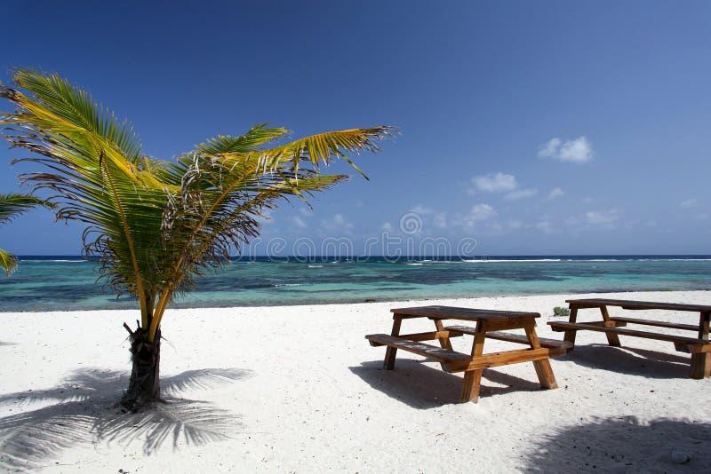 Hölzerne Tabelle auf schönem Strand lizenzfreies stockfoto