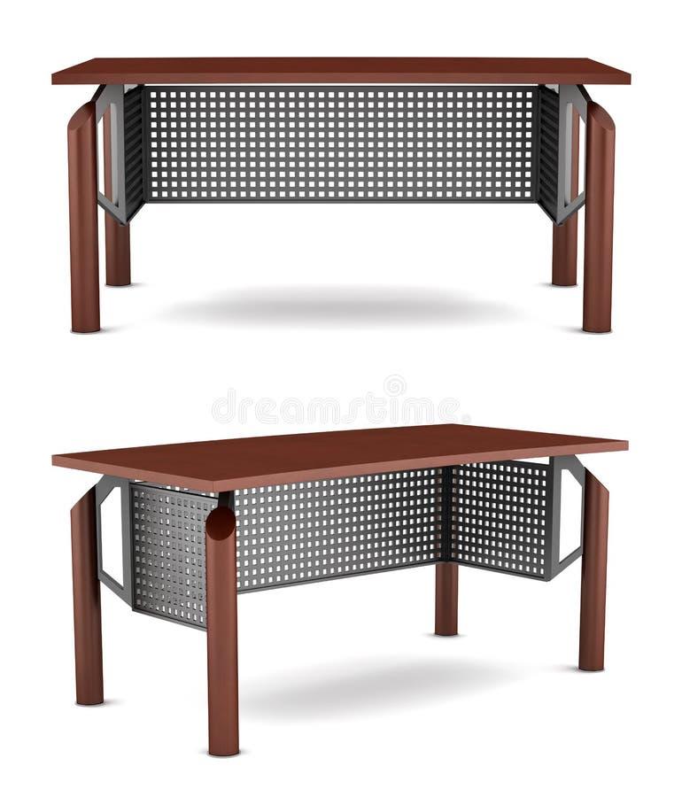 Hölzerne Tabelle des modernen braunen Büros auf Weiß lizenzfreie abbildung