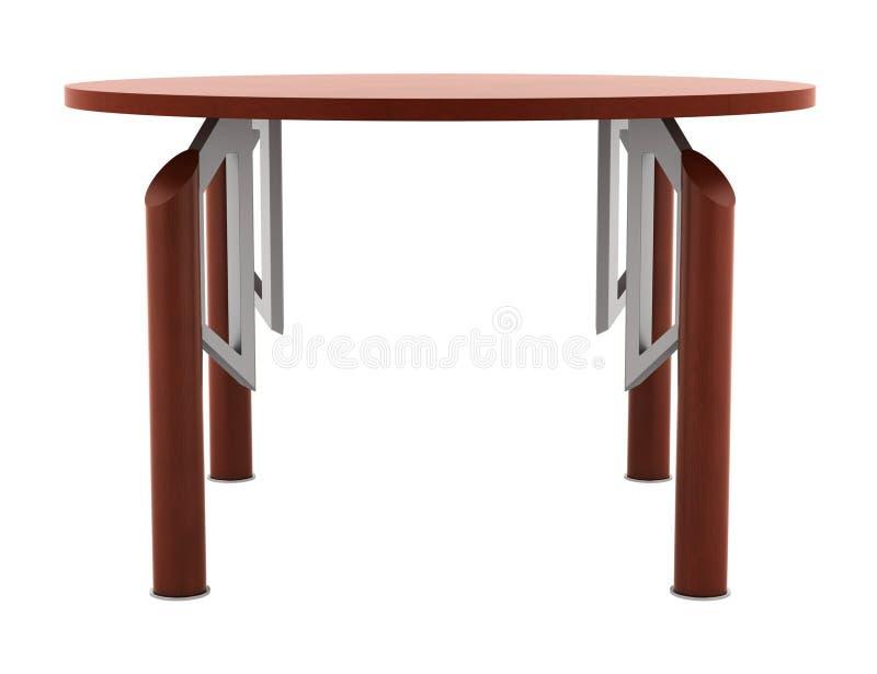 Hölzerne Tabelle des modernen braunen runden Büros getrennt lizenzfreie abbildung