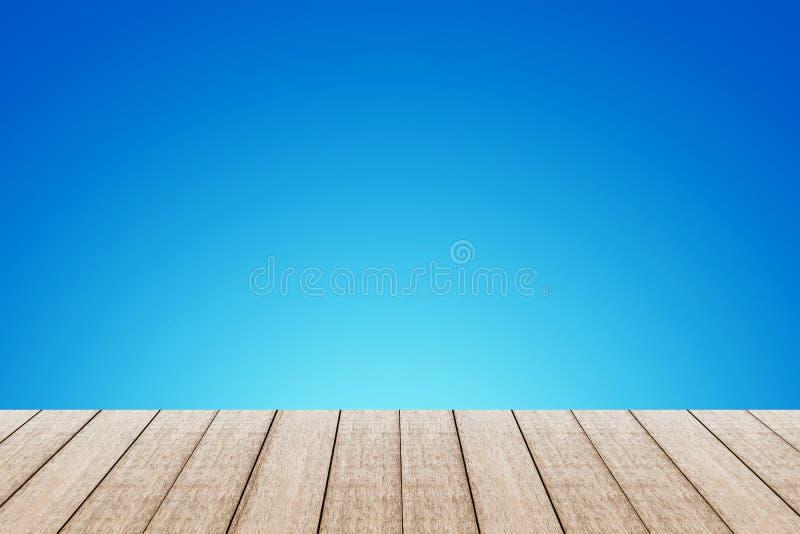 Hölzerne Tabelle mit blauer Farbe stockfoto