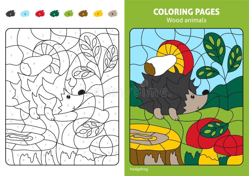Hölzerne Tiere, die Seite für Kinder, Igeles im Wald färben stock abbildung